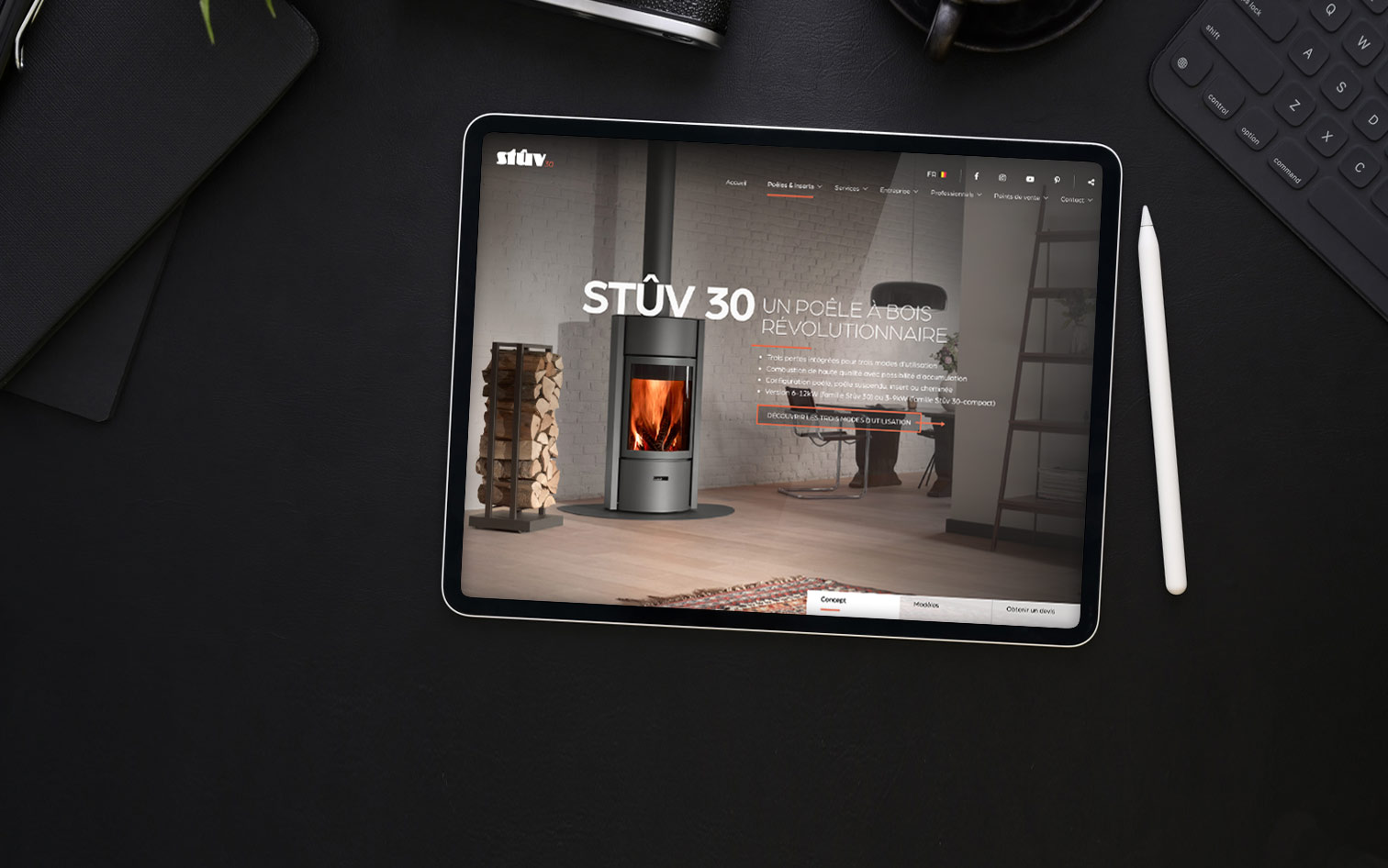 Tablet with Stûv web page opened